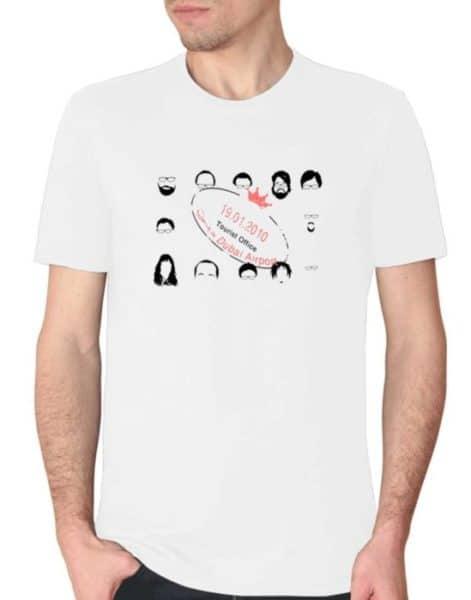 """חולצת סיום קורס עם הדפס של """"המוסד בדובאי"""""""